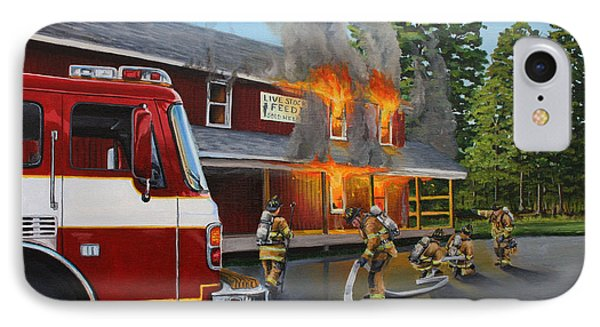 Feed Store Fire IPhone Case by Paul Walsh