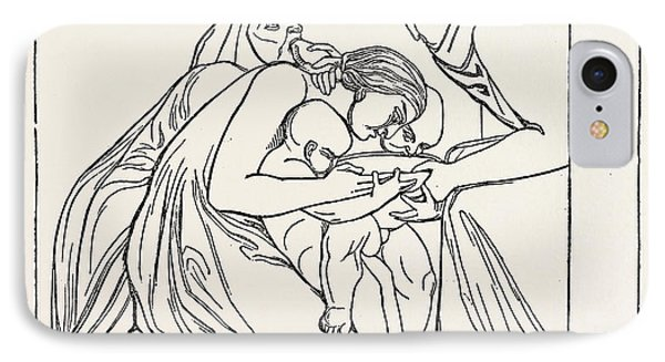 Feed The Hungry From A Bas-relief Of John Flaxman IPhone Case by English School