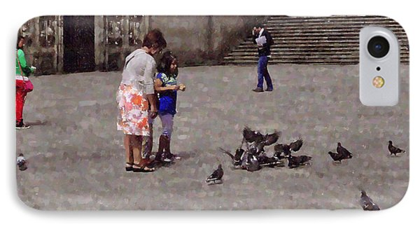 Feeding Pigeons In Santiago De Compostela Phone Case by Mary Machare