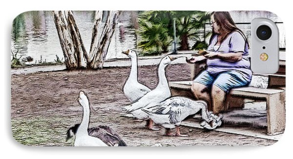 Feeding The Geese IPhone Case by Photographic Art by Russel Ray Photos