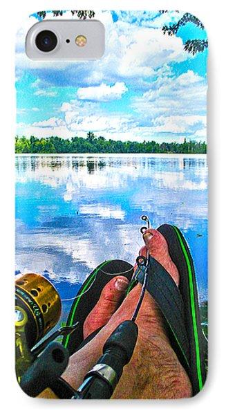 Feet Up Fishing Crab Orchard Lake IPhone Case by Jeff Kurtz
