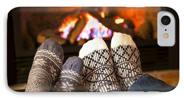 Feet Warming By Fireplace IPhone Case by Elena Elisseeva