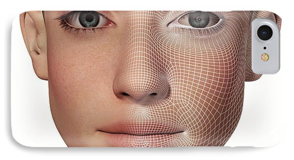 Female Head With Biometric Facial Map IPhone Case by Alfred Pasieka
