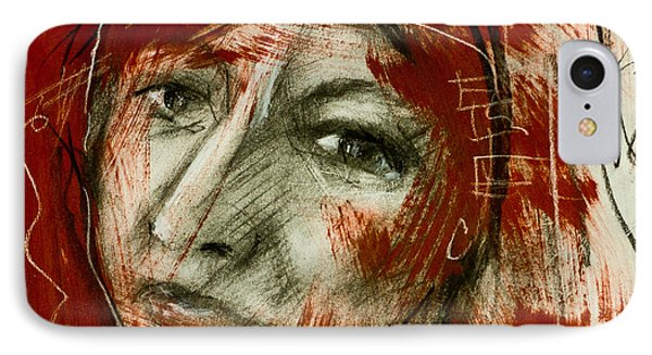 Female Head With Red Background IPhone Case by Maxim Komissarchik