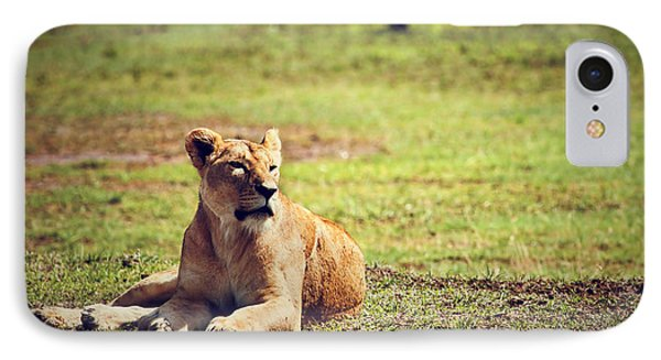 Female Lion Lying. Ngorongoro In Tanzania Phone Case by Michal Bednarek