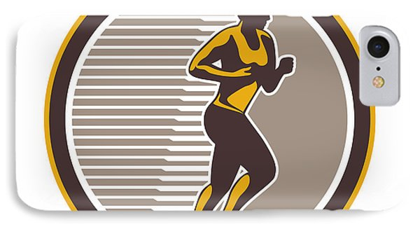 Female Marathon Runner Side View Retro Phone Case by Aloysius Patrimonio