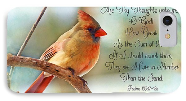 Female Northern Cardinal With Verse IPhone Case by Debbie Portwood