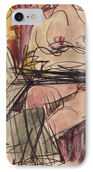 Female Nude And Man Sitting At A Table Phone Case by Ernst Ludwig Kirchner