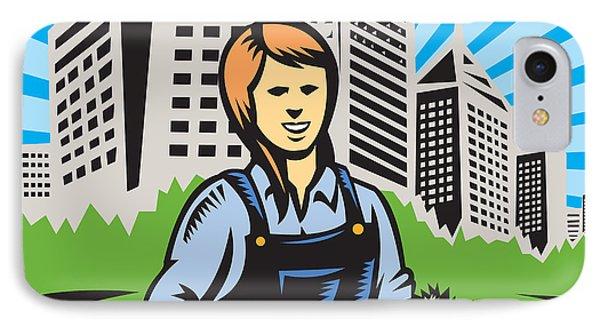 Female Organic Farmer Urban Phone Case by Aloysius Patrimonio