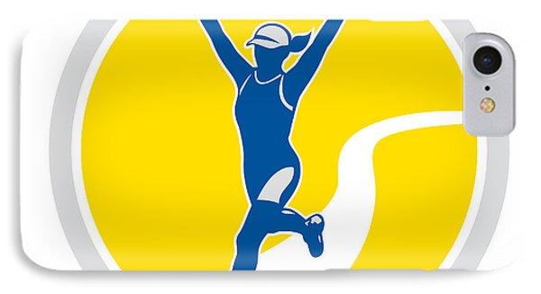 Female Triathlete Marathon Runner Retro Phone Case by Aloysius Patrimonio