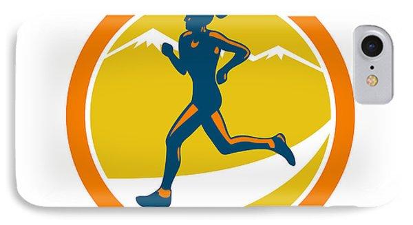 Female Triathlete Runner Running Retro Phone Case by Aloysius Patrimonio