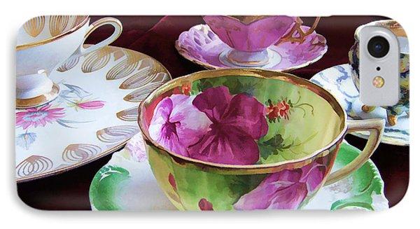 Feminine High Society Ladies Tea Party IPhone Case by Kathy Clark