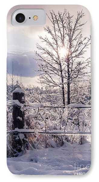 Fence And Tree Frozen In Ice IPhone Case by Elena Elisseeva