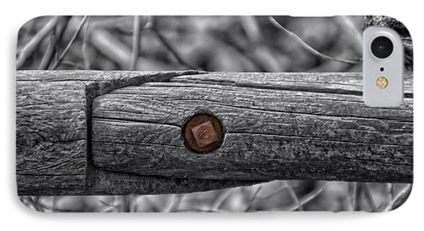 Fence Rail With Rusty Bolt Phone Case by Thomas Woolworth