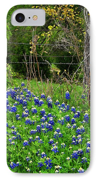 Fenced In Bluebonnets IPhone Case by David and Carol Kelly