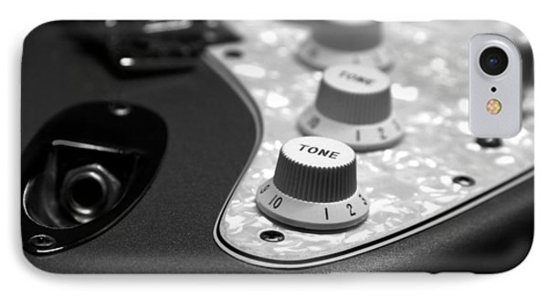 Fender Stratocaster Electronics Detail Black And White IPhone Case by John Cardamone
