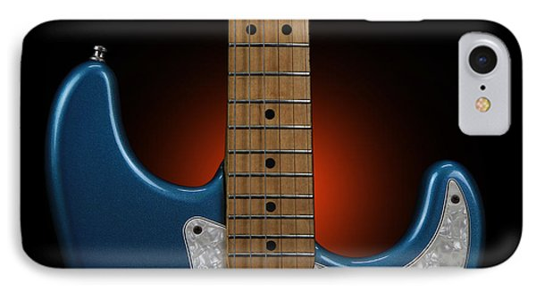 Fender Stratocaster In Blue Sparkle Cutaway Detail IPhone Case by John Cardamone