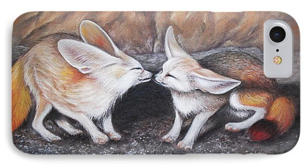 IPhone Case featuring the drawing Fennec Love by Patricia Lintner