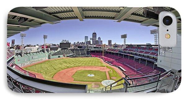 Fenway Park And Boston Skyline IPhone Case by Susan Candelario