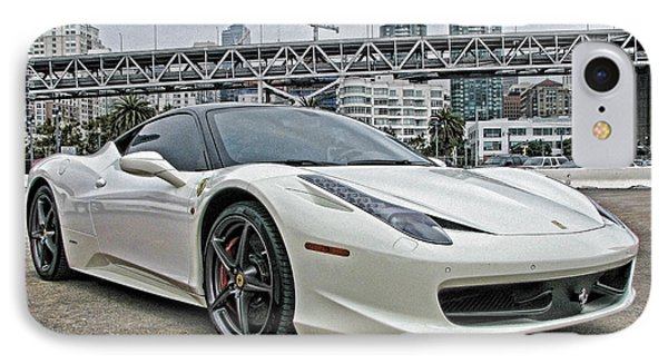 Ferrari 458 Italia In White IPhone Case by Samuel Sheats