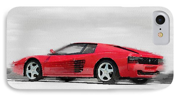 Ferrari 512 Tr Testarossa Watercolor IPhone Case by Naxart Studio