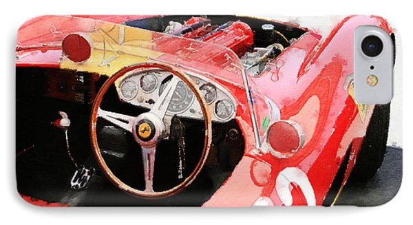 Ferrari Cockpit Monterey Watercolor IPhone Case by Naxart Studio