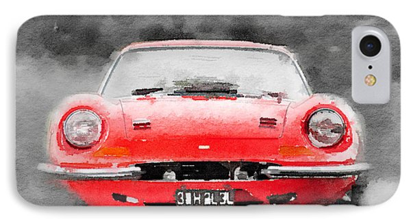 Ferrari Dino 246 Gt Front Watercolor IPhone Case by Naxart Studio