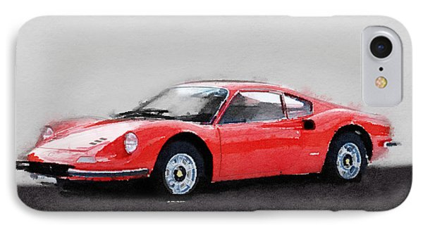 Ferrari Dino 246 Gt Watercolor IPhone Case by Naxart Studio