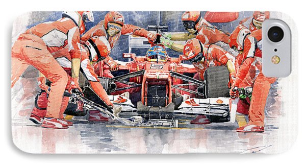 2012 Ferrari F 2012 Fernando Alonso Pit Stop IPhone Case by Yuriy  Shevchuk