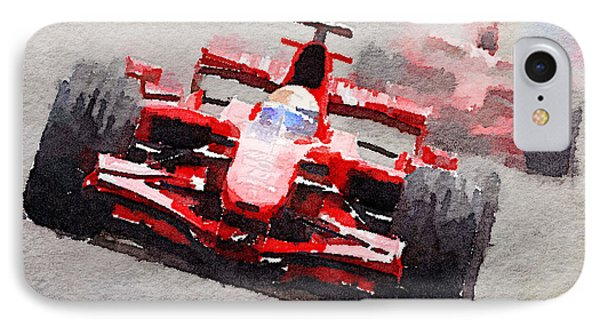Ferrari F1 Race Watercolor IPhone Case by Naxart Studio