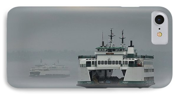 IPhone Case featuring the photograph Ferries Pass In The Fog by E Faithe Lester