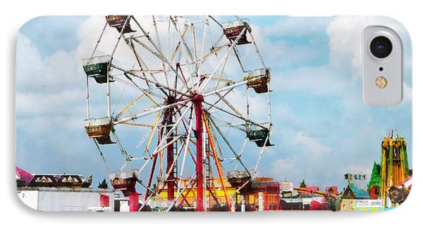 Ferris Wheel Against Blue Sky Phone Case by Susan Savad