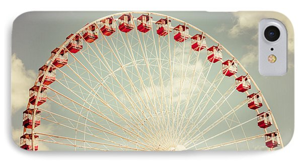 Ferris Wheel Chicago Navy Pier Vintage Photo IPhone Case by Paul Velgos