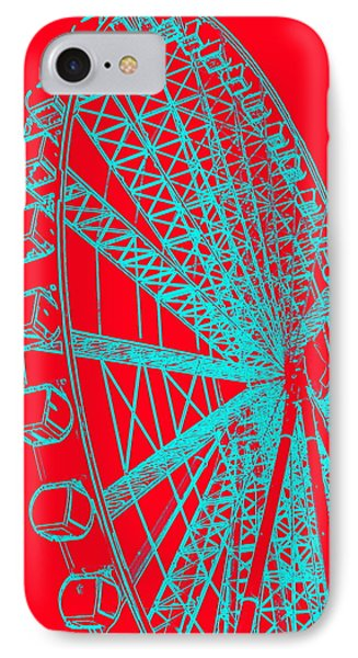Ferris Wheel Silhouette Turquoise Red IPhone Case