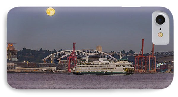 Ferry Under A Full Moon IPhone Case
