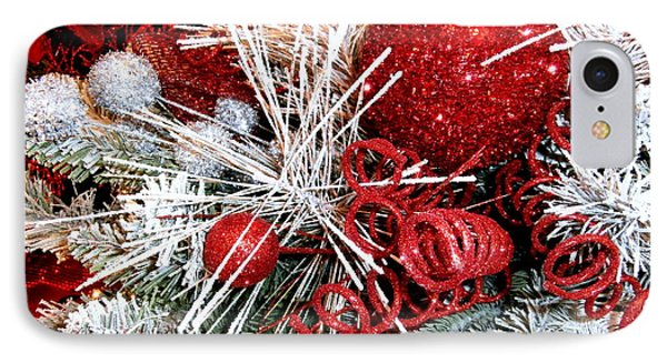 Festive Red And White IPhone Case by Janine Riley