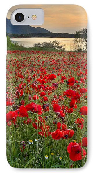 Field Of Poppies At The Lake Phone Case by Guido Montanes Castillo