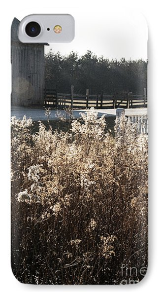 Field With Barn In The Background IPhone Case by Birgit Tyrrell