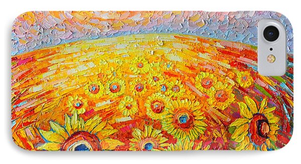 Fields Of Gold - Abstract Landscape With Sunflowers In Sunrise IPhone Case by Ana Maria Edulescu