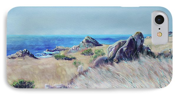 IPhone Case featuring the painting Fields With Rocks And Sea by Asha Carolyn Young