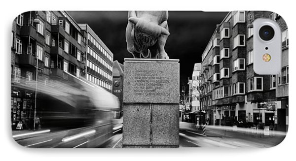 Bull Statue IPhone Case by Mike Santis