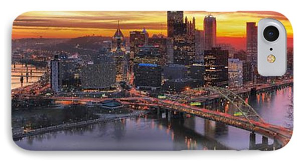 Fiery Pittsburgh Morning Digital Painting IPhone Case