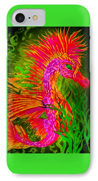 IPhone Case featuring the painting Fiery Sea Horse by Adria Trail