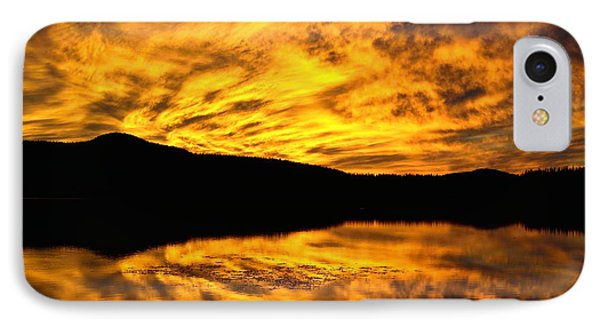 Fiery Sunrise Over Medicine Lake Phone Case by Rich Rauenzahn