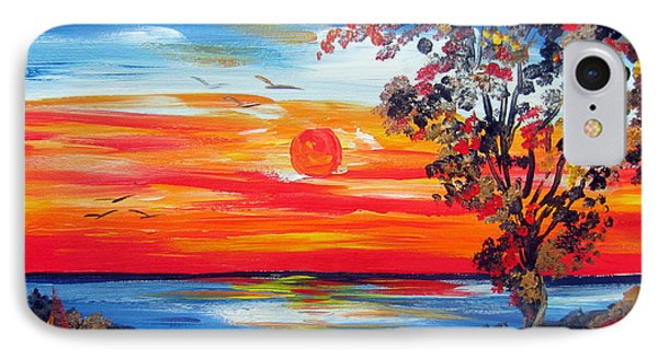 IPhone Case featuring the painting Fiery Sunset By The Indian Ocean by Roberto Gagliardi