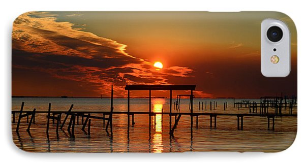 Fiery Sunset Colors Over Santa Rosa Sound IPhone Case by Jeff at JSJ Photography