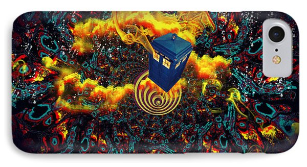 IPhone Case featuring the painting Fiery Time Vortex by Digital Art Cafe