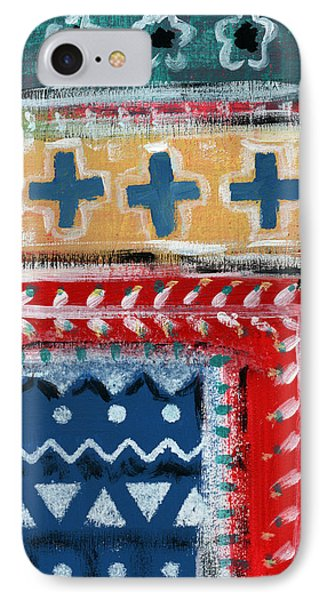Fiesta 3- Colorful Pattern Painting IPhone Case by Linda Woods