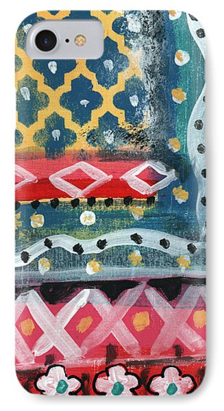 Fiesta 4- Colorful Pattern Painting IPhone Case by Linda Woods