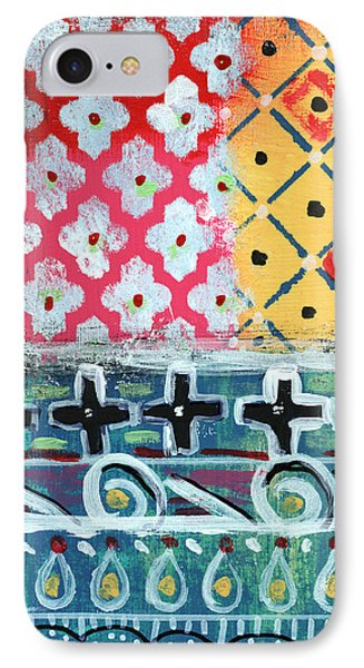 Cross iPhone 7 Case - Fiesta 6- Colorful Pattern Painting by Linda Woods